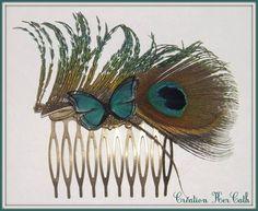 Peigne à cheveux plume de paon naturelle et papillon bleu