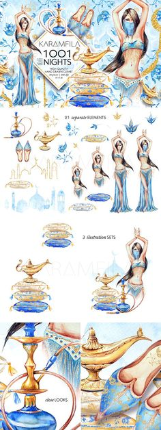 1001 Nights clipart - Arabic Moroccan clipart, Aladin lamp, princess Jasmine, hookah Turkish shoes and Oriental flowers clip art, watercolor illustrations set.