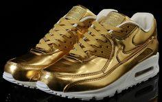 Nike Air Max 90 in liquid metallic gold