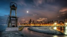 abandoned lighthouse in lake michigan hdr - hdr, pier, lights, city, moon, lighthouse