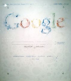 """[Google vs Water] Akira Fujimoto uses water to dissolve the print of the Google top-page image, a symbol of internet This is the way of contemporary art expression that substitute a color and drawing, which are basic two elements of painting, for a symbol and chemical reaction. One of the """"RECODE 01: Icon"""" series that is an attempt to symbolize an iconic object into something new."""