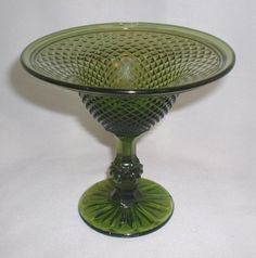 """Indiana Glass Olive Green Diamond Point 6"""" Footed Compote Comport"""