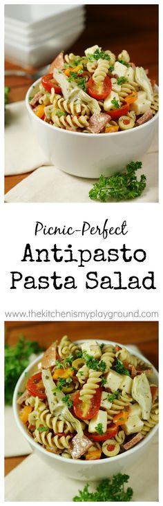 Antipasto Pasta Salad - Chock full of antipasto favorites, this no-mayo pasta salad is one eye-catching, crowd-pleasing summer side.    www.thekitchenismyplayground.com