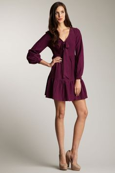frock! by Tracy Reese | Catherine Puckered Silk Long Sleeve Peasant Dress