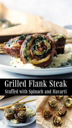 Flank steak stuffed with fresh spinach, garlic and Havarti cheese; then portioned for individual servings and grilled to your liking. Flank Steak, Beef Steak, Parmesan Roasted Green Beans, Summer Grilling Recipes, Summer Recipes, Havarti Cheese, How To Grill Steak, Cookbook Recipes, Kitchen Recipes