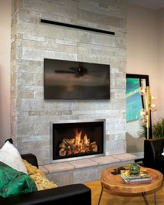 Don't sacrifice ambiance for comfort when the seasons change. Mendota Hearth gas fireplaces and inserts come with temperature controls that let you keep the fire but redirect the heat.  #GetMoreWithMendota #MyMendotaHearth #gasfireplace #fireplaceideas #fireplace #fireplaceinspo