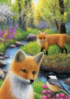 Red fox chickadee bird spring forest creek landscape original aceo painting art #Miniature