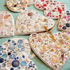 Sea Shell Ornaments We are adore easy heart crafts for kids. And these sea shell ornaments are just the ticket for summer crafting! We are forever collecting sea shells and little trinkets. combine that with my love for buttons and… Fun Crafts For Kids, Summer Crafts, Art For Kids, Activities For Kids, Arts And Crafts, Christmas Activities, Holiday Crafts, Button Crafts For Kids, Camping Activities