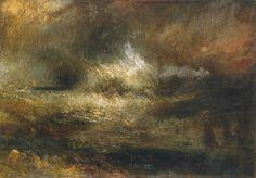 Joseph Mallord William Turner, 'Stormy Sea with Blazing Wreck' c.1835-40
