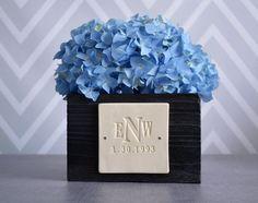 PERSONALIZED Wedding Gift - Monogrammed Short Kiri Wood Vase