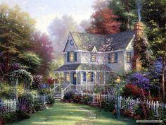 Thomas+Kinkade+Paintings+for+Sale | Art Thomas Kinkade Pastoral House Thomas Kinkade Oil Painting Works