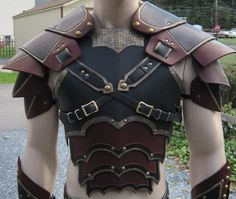 Ornate gothic leather armor chest back & shoulders. $399.99