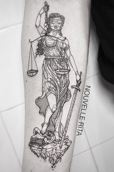 Nouvelle Rita … All Tattoos, Body Art Tattoos, Tattoos For Women, Sleeve Tattoos, Tatoos, Nemesis Tattoo, Justice Tattoo, Tattoo Designs, Libra Tattoo