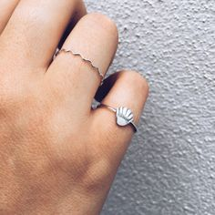 SurfGirl Beach Boutique At Aloha Little Shell Sterling Silver Ring. This cute shell ring is designed to be simple, pretty and an everyday piece of jewellery. Its delicate nature makes it perfect for a minimalist look. #SterlingSilverRings