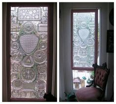 The secret of this stunning window is vintage crystal pieces glued to its other side.
