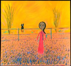 Mexican Folk Art Paintings-Original Artwork Direct From The Artist-RoMy-Terlingua Art Studio: NR Bluebonnets Cat Tin MeXiCaN FoLk ArT RoMy Painting
