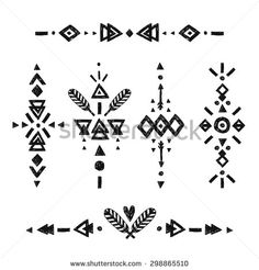 Vector Tribal Hand Drawn elements, ethnic collection, aztec stile, tribal art, Flash Tattoo isolated on white background