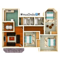 Three bedroom house #Zambia | floor plans | Pinterest | House