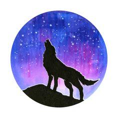 Galaxy Wolf Silhouette Art Print
