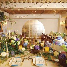 Party Wedding(パーティーウエディング)|結婚式場写真「グリーンをあしらったディスプレイやテーブルコーディネート。.:*・゜☆」 【みんなのウェディング】
