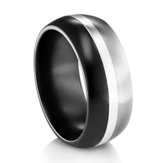 Tuxedo Ring - Black Titanium, Grey Titanium, and an inlay of Sterling Silver in the middle - Classy and stylish! #TitaniumJewelry