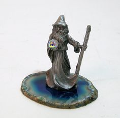 Pewter Wizard With Crystal Ball Figurine On от BountifulGoods Faceted Crystal, Crystal Ball, Wizard Tattoo, Miniature Figurines, Pewter, Bookends, Agate, Miniatures, Crystals