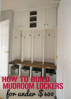 Check out this DIY mudroom locker inspiration that includes a wood stained bench, coat hangers, and storage shelves and cabinets - all for under $400!