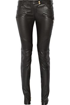 Balmain | Moto-style leather skinny pants | NET-A-PORTER.COM