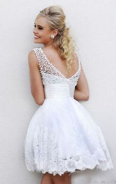 2016 New A Line White Ivory Short Wedding Dress Pearls Lace Bridal Gown 2 4 6 8