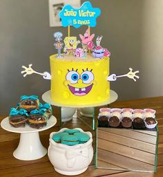 Birthday Cake, Birthday Parties, Character Cakes, Buttercream Cake, Spongebob, Cake Designs, Cake Decorating, Topper, Baking