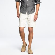 good look: chambray shirt, white shorts, dirty bucks