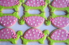 24 turtle party favors event is September cookies to ship September Turtle Cookies, Iced Cookies, Sugar Cookies, Turtle Birthday Parties, Turtle Party, Cupcakes, Cupcake Cookies, Cookie Party Favors, Cookie Crush