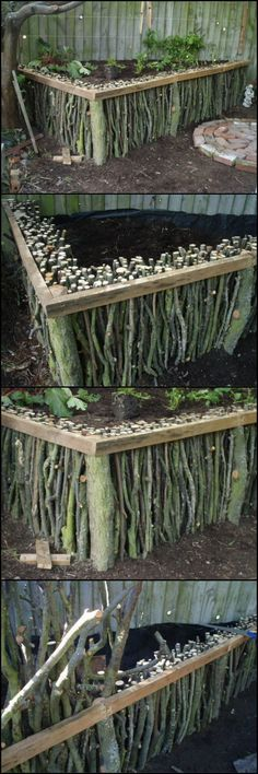 How To Build A Natural Wood Raised Garden http://theownerbuildernetwork.co/mc4h Make a raised garden bed without spending money on a costly raised garden kit, by building your own natural wood raised garden bed from fallen branches.