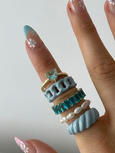 Nail Jewelry, Cute Jewelry, Jewelry Accessories, Jewelry Rings, Fimo Ring, Milky Nails, Nail Ring, Accesorios Casual, Minimalist Nails