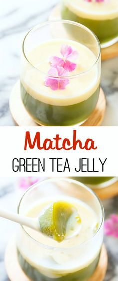Matcha Green Tea Jelly. Easy, light and refreshing.