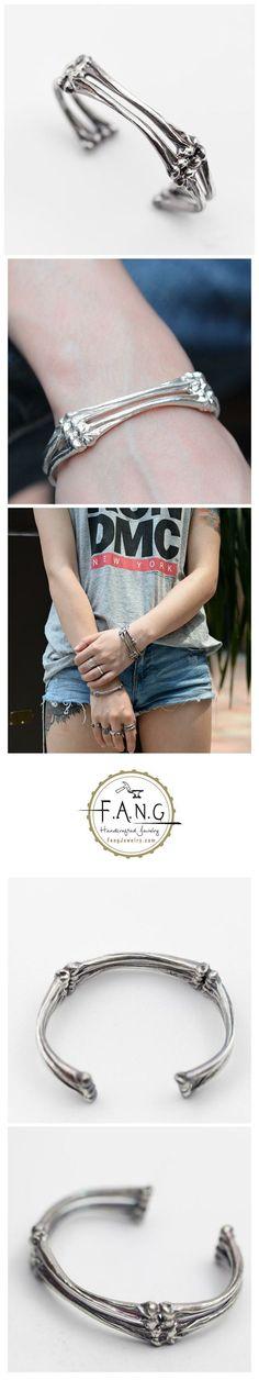 Cuff Oxidized Bangle Gothic Jewelry Skull Bone Links Cuff Skeleton Bracelet…