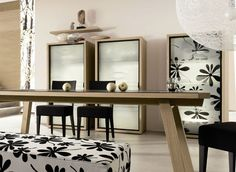 elegant black and white dining room design Dining Room Colors, Dining Room Wall Decor, Dining Room Design, Dining Room Furniture, Room Decor, Dining Rooms, Black And White Dining Room, Black White, Room Interior