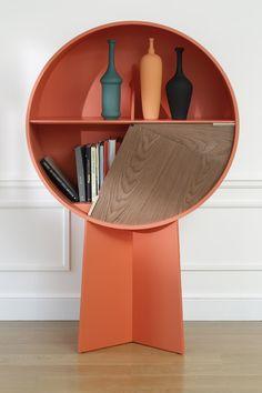 mobilier : Luna Cabinet par Patricia Urquiola, 2015, design espagnol, rose corail