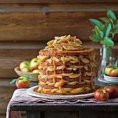 Several Fall Cake Recipes see link. Pictured APPLE STACK CAKE Recipe: Apple Stack Cake Use six disposable aluminum cake pans to create the layers of this stunning cake. Prepare the filling up to three days before assembling the cake. Fall Cake Recipes, Apple Dessert Recipes, Köstliche Desserts, Apple Recipes, Delicious Desserts, Baking Recipes, Yummy Drinks, Yummy Recipes, Apple Stack Cake Recipe