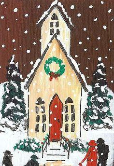 ACEO Original Folk Art Primitive Country Church Snow Scene by Moody