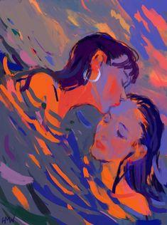 "Angry Sapphic on Twitter: ""Anoche buscando icons encontré pinturas preciosas:… "" Lesbian Art, Gay Art, Pretty Art, Cute Art, Arte Indie, Arte Sketchbook, Hippie Art, Psychedelic Art, Aesthetic Art"