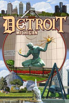 Detroit, Michigan - Montage Scenes - Lantern Press Artwork