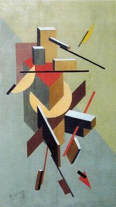 Vlakken, lijnen, kleuren, schaduwen. Alles van kubisme is te vinden in deze prent. ~~ Proun 1 (1919) El Lissitzky