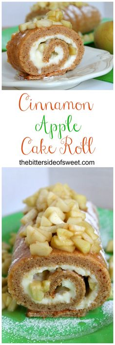 Easy Cinnamon Apple Cake Roll made with fresh apples, cinnamon and cream cheese icing.