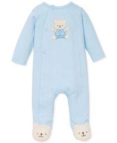 Little Me Baby Boys' Cute Blue Bear Coverall  - Blue 6 months