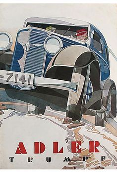 Adler trumpf graphic by bernd reuters art deco poste Vintage Advertisements, Vintage Ads, Vintage Posters, Art Deco Posters, Car Posters, Triumph, Car Illustration, Motorcycle Art, Car Advertising