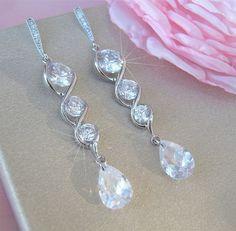 Long Linear Braided Crystal Bridal Earrings w/ Swarovski Drops