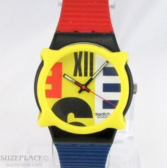 VINTAGE SWATCH NINE TO SIX RED & BLUE WATCH & SWATCH GUARD GB 117 NEW BATTERY #Swatch #Fashion SuzePlace.com