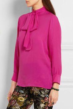 Gucci - Pussy-bow Silk Crepe De Chine Shirt - Fuchsia
