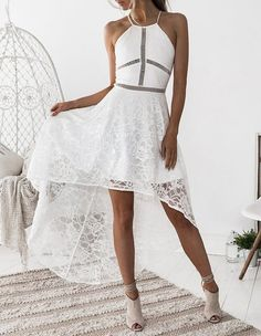 7309c5ddeb5 Cutout Details Lace Overlay Cross Back High Low Slip Going Out Dress –  FADCOVER White Halter